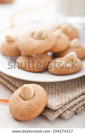 Peanut butter cookies with a cup of milk