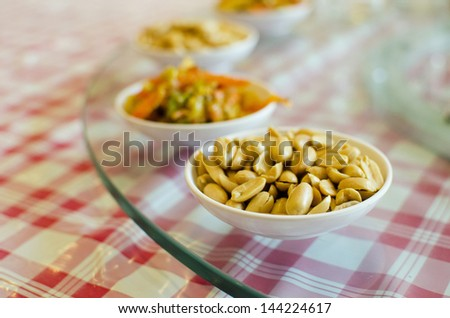Peanuts for chinese food set , on the table