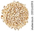 Pearl Barley Heap top view surface close up macro isolated on white Background - stock photo