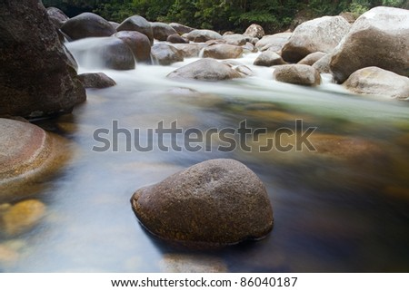pebbl es or rocks in creek or stream flowing water