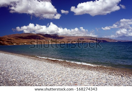 Pebbles on the beach on the island of Crete, Greece