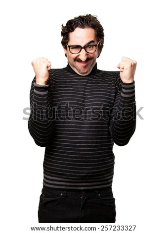 pedantic man celebrating gesture
