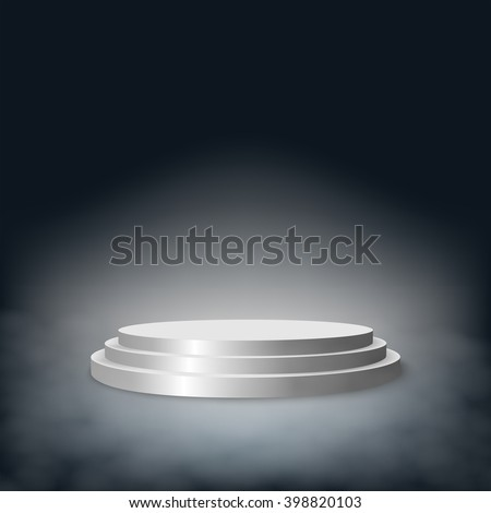 Pedestal with steps in the fog. Graphic 3d illustration