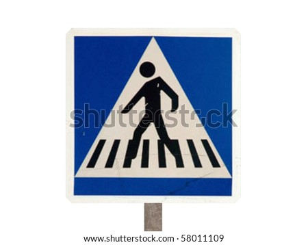 pedestrian crossing isolated on white background