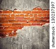 peeled stucco brick wall background - stock photo
