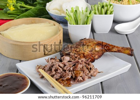 Peking Duck Chinese Roast Duck Served With Pancakes Cuber Spring Onions And Hoisin