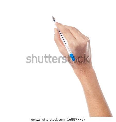 Pen in the woman's hand, isolated on white background