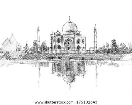 pencil sketch of taj mahal drawn in pencil artistic style