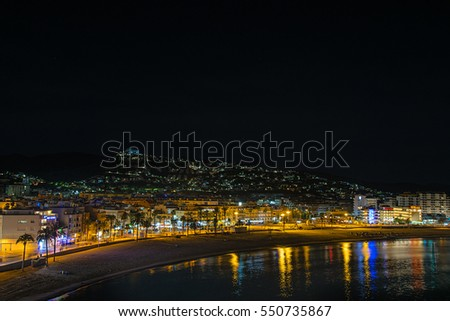 PENISCOLA - SEP 25: Night scene at harbor on September 25, 2015 in Peniscola town, Castellon province, Spain