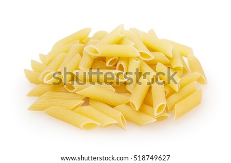 Penne rigate pasta isolated on white background with clipping path