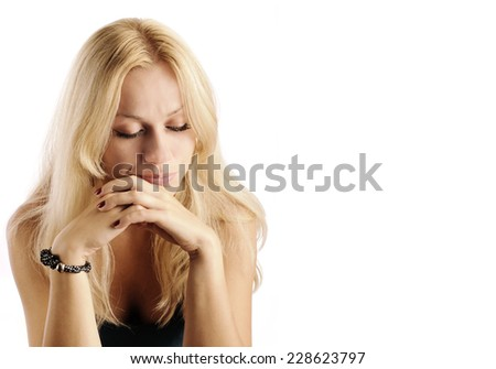 Pensive girl, isolated on white