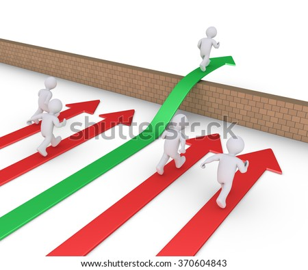 People are running on arrows but one is running on arrow and over the wall