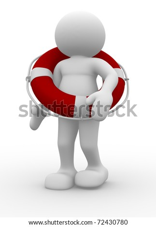 People character with lifebuoy - 3d render illustration