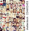 People faces collage of closeup portraits - stock photo