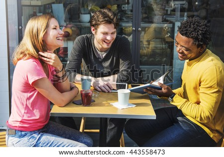 People Friendship Coffee Shop Togetherness Talking Concept