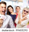people group having fun and gesturing indoor - stock photo