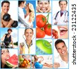People, health, diet, healthy nutrition, food,  fruits,  fitness, medical doctor - stock photo