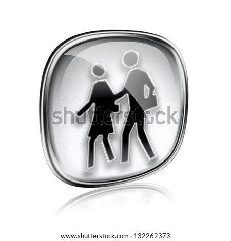 people icon grey glass, isolated on white background