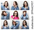 people, portrait and beauty concept - collage of woman different facial expressions - stock photo
