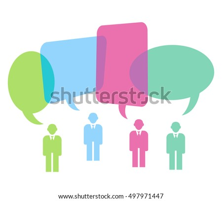 People with colorful speech bubbles, 3D illustration