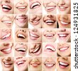 Perfect smiles. Set of 25 beautiful wide human smiles with great healthy white teeth. Isolated over white background - stock photo