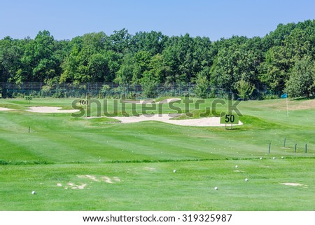 Perfect wavy ground with nice green grass on a golf field