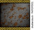 Perforated rusted metal background with warning stripes - stock photo