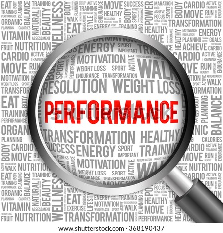 PERFORMANCE word cloud with magnifying glass, health concept