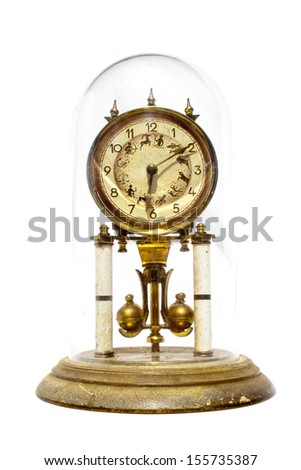 Period clock with oscillating mechanism on white background