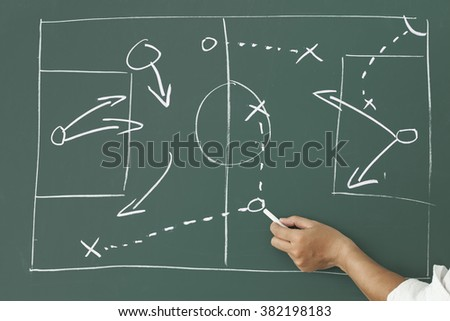 Person drawing football strategic plan on blackboard.