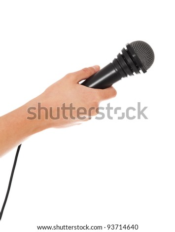 Person holding microphone. All on white background.