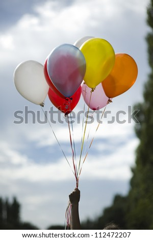 person holding multi colored helium ballons