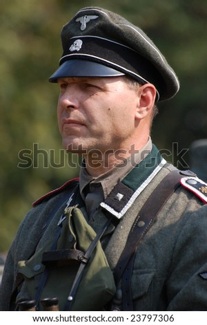 Person in German WW2 military uniform. Historical military reenacting in Kiev, Ukraine