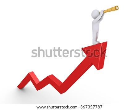 Person is on top of rising graph and is looking through a telescope