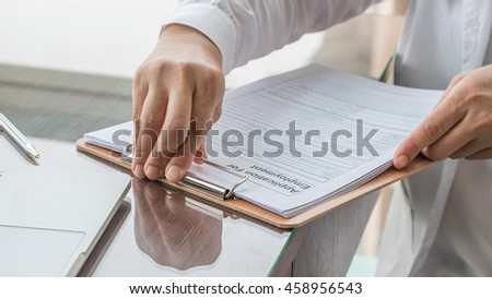 Doctors Hand Working Using Pen Writing Photo 391886011 – Blank Mortgage Form