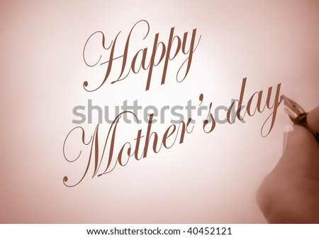 Person Writing Happy Mothers Day Calligraphy Stock Photo