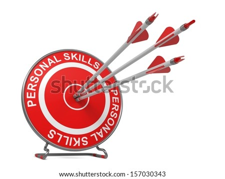 "Personal Skills - Business Concept. Three Arrows Hitting the Center of a Red Target, where is Written ""Personal Skills""."