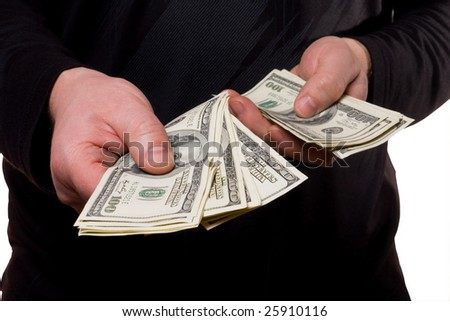 persons payment for cash  by money