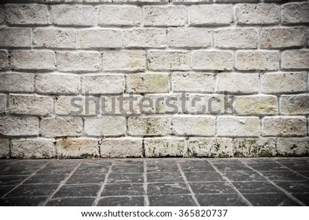 Perspective background of grunge brick wall