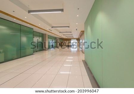Perspective of the modern lobby, hallway of the five stars luxury hotel, shopping mall, business center in Vancouver, Canada. Interior design.
