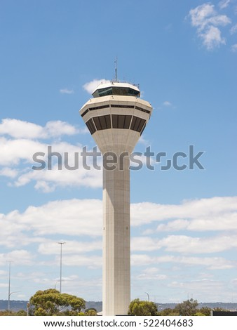 PERTH, AUSTRALIA - NOVEMBER 12,2016 : Control tower in perth airport. Perth Airport is a domestic and international airport serving Perth, the capital and largest city of Western Australia.