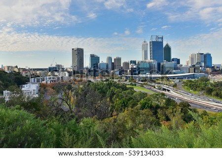 PERTH - MAY 22: View of the financial district of Perth city on May 22, 2015 in Perth, Australia