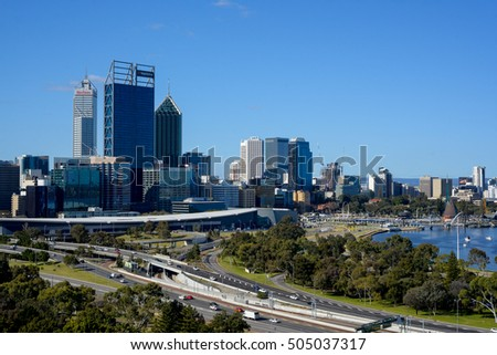 Perth, Western Australia: September 6, 2016 - Beautiful view of Perth city as the center of business district (CBD) in Perth, Australia.