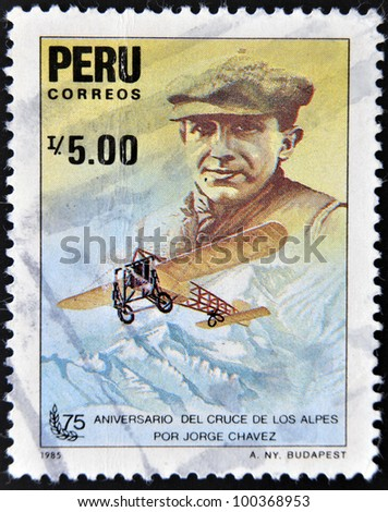 PERU - CIRCA 1985: A stamp printed in Peru dedicated to anniversary of the crossing of the Alps by Jorge Chavez, circa 1985