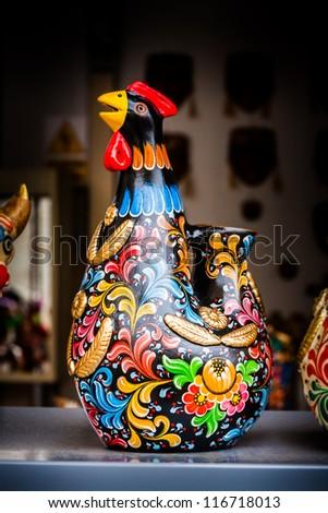 Peru Tradition Handcraft Ceramic Chicken Ornament Stock