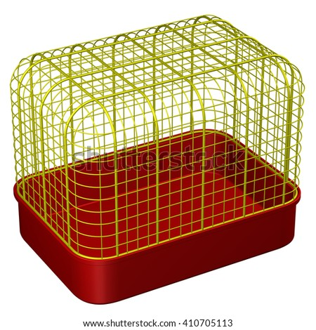 Pet Cage, isolated on white background. 3D rendering.