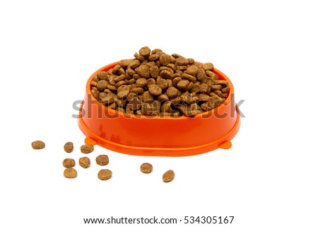 pet food in a bowl on a white background. horizontal photo.