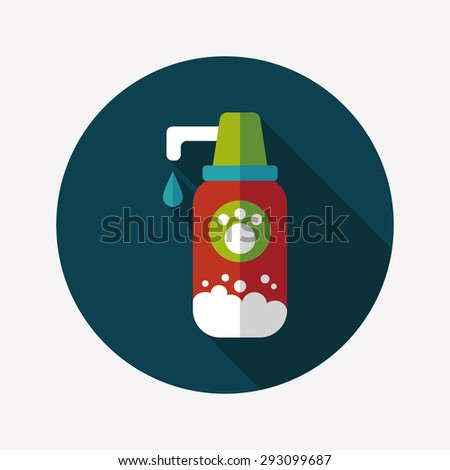 Pet shampoo flat icon with long shadow