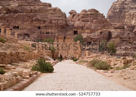 Petra, Jordan - October 26, 2016: The Colonnaded street. Petra, Jordan