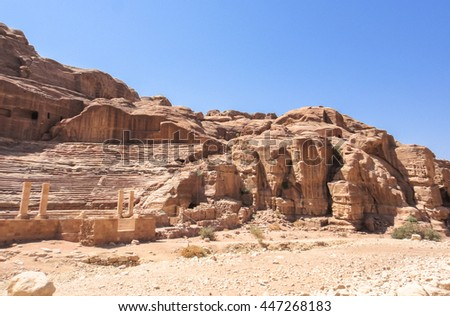 Petra (Raqmu) nabataeans ancient city in Jordan. Siq canyon. Middle East
